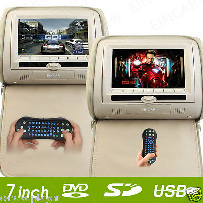 "Beige 2x LCD HDMI 7"" Pillow Car Headrest Monitor USB DVD CD Player+IR Headphones"