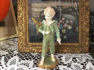 Royal Worcester Figurine Boy With Parakeet Green And Gold Rw3087