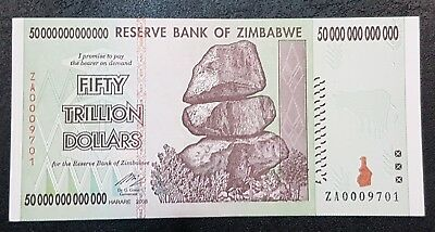 Zimbabwe 2008 P90 $50,000,000,000,000 Fifty Trillion Dollar Replacement Note UNC