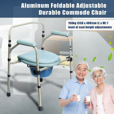 Aluminum Shower Toilet Bathroom Commode Chair Foldable Height Adjust Load 158kg