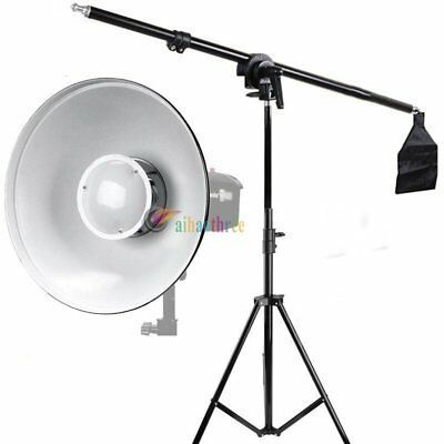 Godox Light Stand + Boom Arm With Sandbag + Bowens Beauty Dish For Strobe Flash
