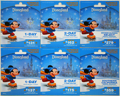 All 6 Different DISNEYLAND Resort Passport Holiday Gift Cards 2013: Mickey Mouse