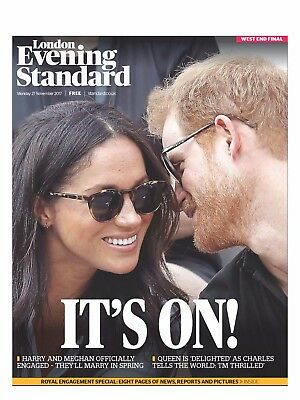 PRINCE HARRY & MEGHAN MARKLE Engagement UK Evening Standard Souvenir 28 Nov 2017