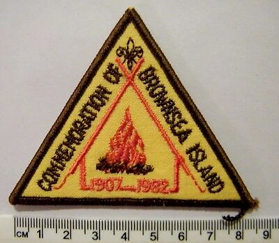 BROWNSEA ISLAND - NZ Scouts 75 years of First Boy Scout Camp Badge, 1907 - 1982