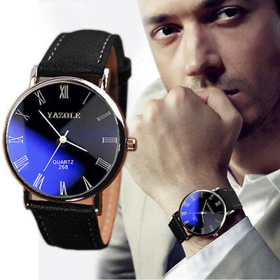 Luxury Men Stainless Steel Faux Leather Watch Quartz Analog Formal Wrist Watches
