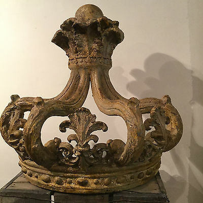 Superb Antique French Chateaux Style Aged Crown Bed Canopy With Hooks