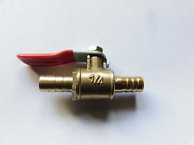 8mm Barb Hose Connector Brass Ball / Shut Off Valve for Air, Fuel, Water etc