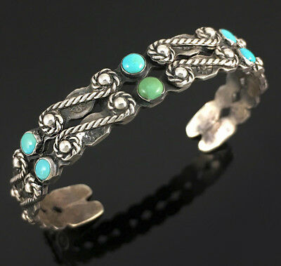 Navajo Native American IH Hand Made Exceptional Bracelet w 6 Natural Turquoise
