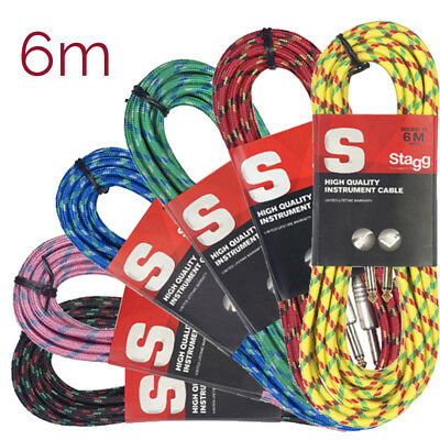 Stagg Vintage Tweed Instrument Cable 6m-Black, Pink, Blue, Green, Red or Yellow