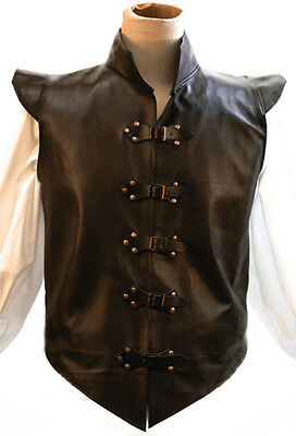 Larp-Cosplay-SCA-Pirates-Fantasy-BUCKLED LEATHER JERKIN-WAISTCOAT-GILET-VEST