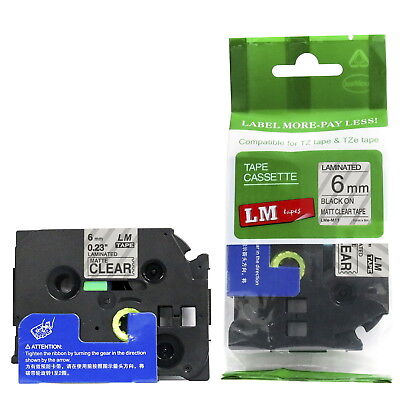 Brother TZe-M11 1/4 Black on Matte Clear P-touch tape 6mm TZM11 Replacement