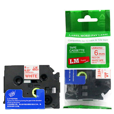 Brother TZe-212 1/4 Red on White P-touch tape 6mm TZ212 TZe212 Replacement