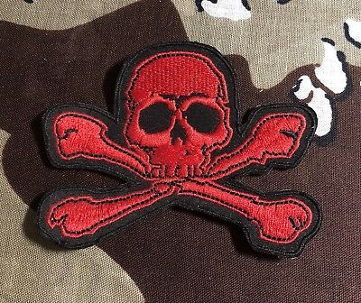 47aa4bcfe Red Skull And Crossbones Embroidered Patch S020P Biker Harley Tattoo Triumph