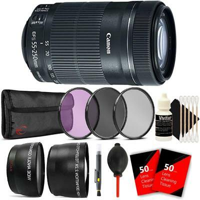 Canon EF-S 55-250mm F4-5.6 IS STM Lens with Accessory Kit for Canon DSLR Cameras