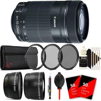 Canon EF-S 55-250mm F4-5.6 IS STM Lens & Accessory Bundle for Canon DSLR Cameras