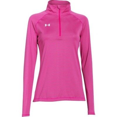 Under Armour Stripe Tech 1/4 Zip Top - Women's - Tropic Pink - XS - 1276211-654