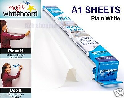 Magic Whiteboard Sheets A1 White Dry Erasable Paper Plain Roll Self Vinyl Stick