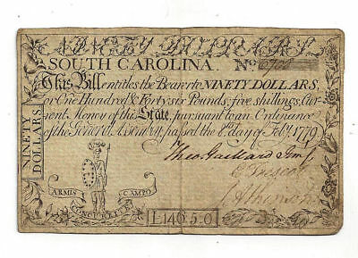 1779 South Carolina Colonial Currency Ninety Dollar Note - No.6708