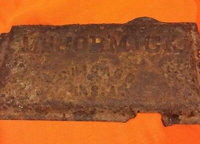 International Harvester McCormick Antique Cast-Iron Tractor Nameplate Chicago IL