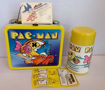 VINTAGE UNUSED MINT 1980 PAC MAN LUNCHBOX  W/thermos Hang Tag, & Instructions