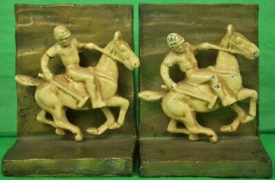 Pair of c30s Art Deco Polo Player Gilt Bookends