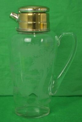 Abercrombie & Fitch Hawkes Etched Glass 'Foxhunt' Martini 1930's Cocktail Shaker