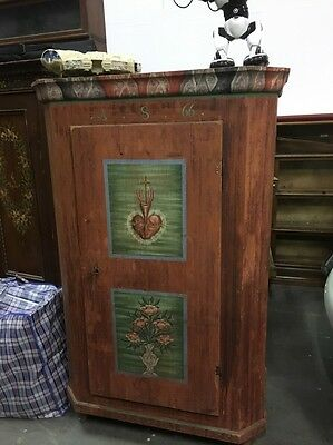 Antique Alpine Armoire Cupboard Folk art Beautifully Painted