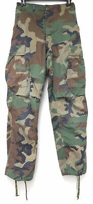 vtg US Army WOODLAND CAMO TROUSERS XS Combat 1981 green brown 80s military black