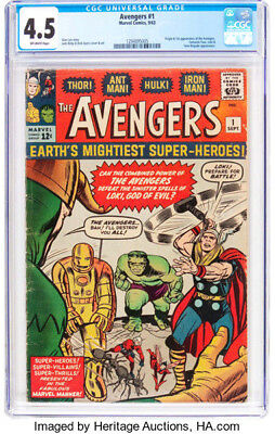 1963 * The AVENGERS #1 * Marvel Comics CGC 4.5 VG+ * Off WHITE Pages ORIGIN 1st