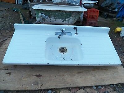 1940's Vintage Metal Steel White Porcelain Single Basin Kitchen Sink