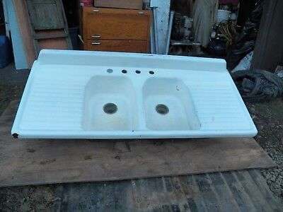 Antique Cast Iron White Porcelain Double Basin Kitchen Farm Sink