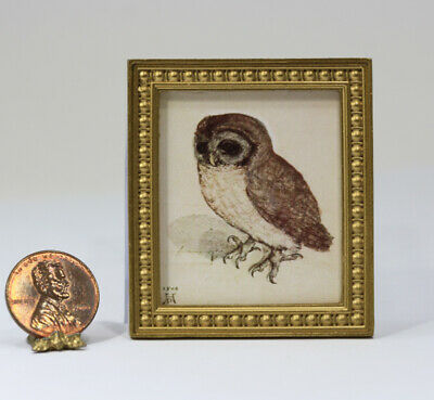 Dollhouse Miniature 1:12 Gold Framed Print of an Durer Owl