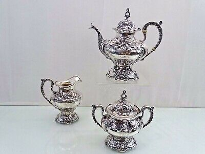 REED & BARTON STERLING LES SIX FLEURS TEA or COFFEE SET ART NOUVEAU ANTIQUE