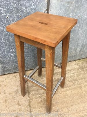 Vintage 1950s 1960s Varnished Beech Kitchen Stool
