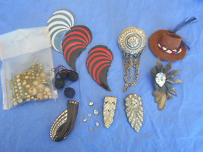 collection of Vintage & antique fashion trims, dress clips ; nic nacs,