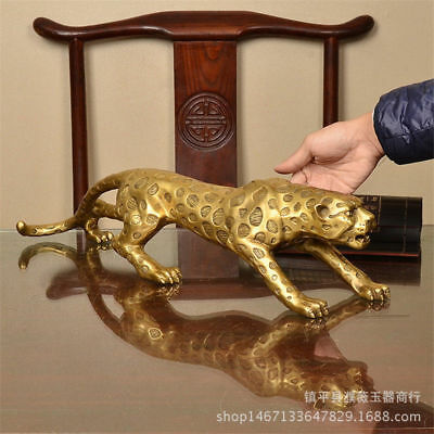 Chinese Folk Bronze Copper Lucky Money Leopard Cheetah Art Statue Figures30cm
