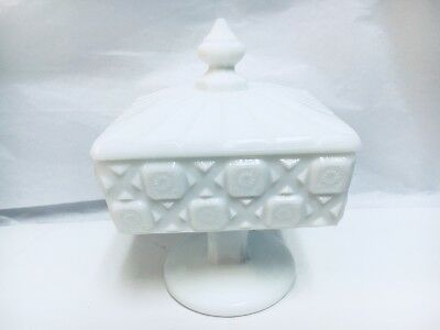 Westmoreland Milk Glass Old Quilt Pattern Square Covered Candy Dish