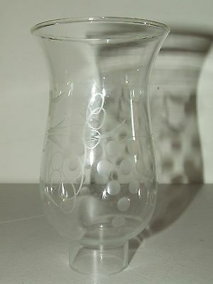Antique Small Clear Etched Grapes Glass HURRICANE Candle Lamp Chimney Shade