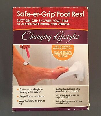 Safe Er Grip Shower Foot Rest Wall Mount Leg Up Step Suction Cup Bathroom White