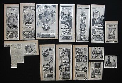 SHIRLEY TEMPLE Original movie advertising 1936 Curly Top Captain January & more