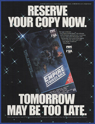 Vintage 1984 STAR WARS THE EMPIRE STRIKES BACK VHS Movie Release Print Ad 80's