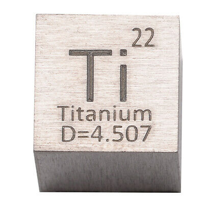 1pcs 99.5% High Purity Titanium Ti Metal Carved Element Periodic Table 10mm Cube