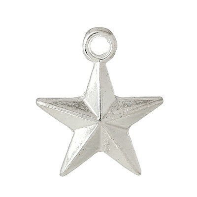 "50 Silver Plated STAR Charm Pendants, 1/2"" beveled double-sided design, chs1658b"