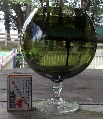 lovely olive green  glass 1960s brandy balloon, measures 16cm high CANDLE HOLDER