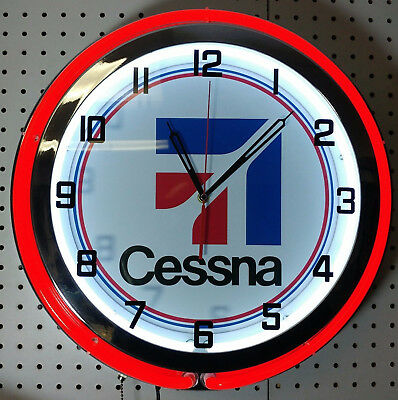 """Cessna Aircraft Airplane Aviation 19"""" Double Neon Clock Chrome RED or BLUE Neon"""