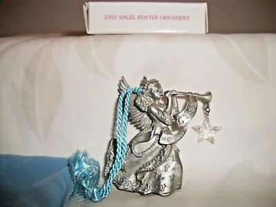 Avon 2002 Holiday Pewter Christmas Ornament Angel Blowing Horn