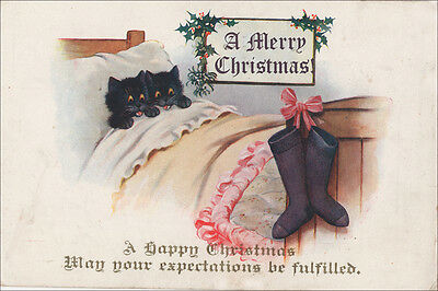 Black Kitten Cats Waiting for Santa 1930's! LARGE New Blank Christmas Note Cards