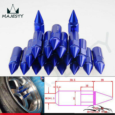 M12X1.5 Spiked Lug Nuts Extended Tuner 60mm Wheels / Rims Aluminum 20pcs Blue