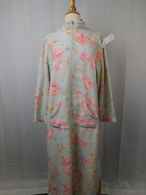 ad25edcf58 Miss Elaine Brushed Back Terry Super Soft Fleece Zip Robe Pink Roses Small   6067