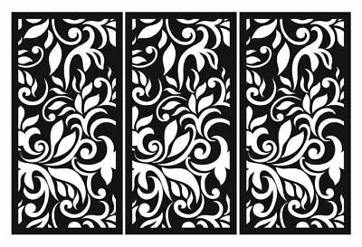 Laser Cut Decorative Privacy Screen Indoor/Outdoor Wall Art  1200x600mm 3Pack